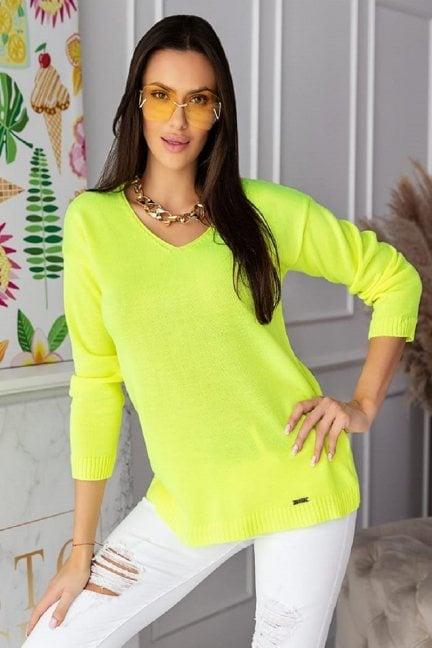 Sweter modny damski z dekoltem neon żółty