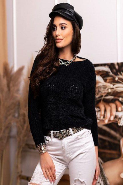 Sweter dopasowany damski angora czarny