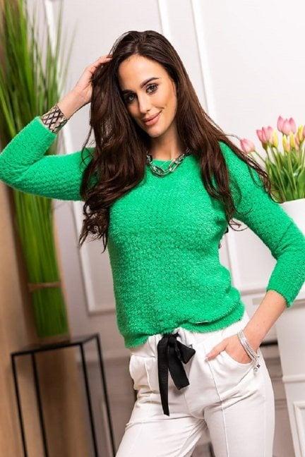 Sweter dopasowany damski angora zielony