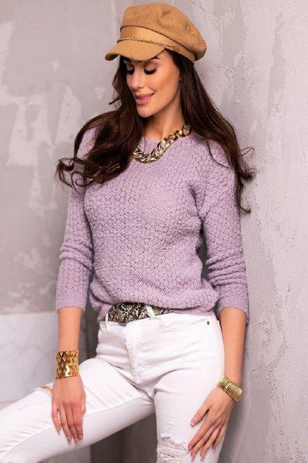 Sweter dopasowany damski angora różowy
