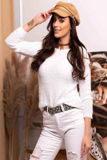 Sweter dopasowany damski angora biały