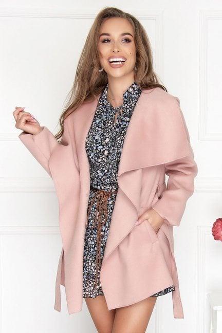 Płaszcz damski wiązany Waterfall różowy