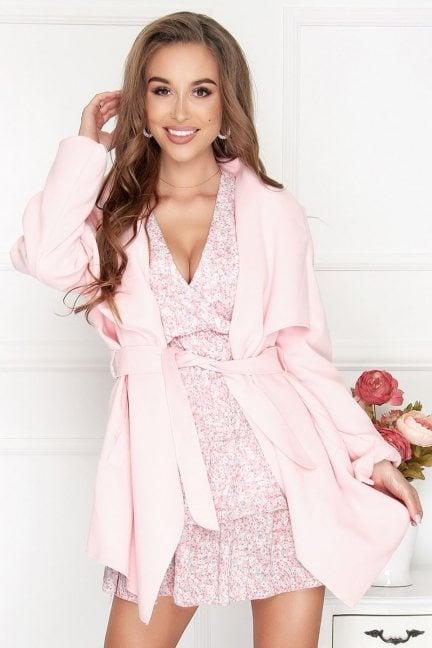 Płaszcz damski wiązany Waterfall pudrowy róż