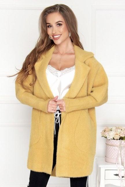 Płaszcz krótki kieszenie alpaka musztardowy