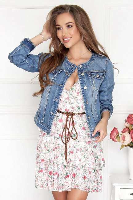 Kurtka modna wiosenna zapinana jeans