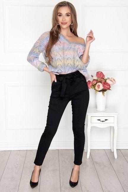Spodnie eleganckie z kieszeniami czarne