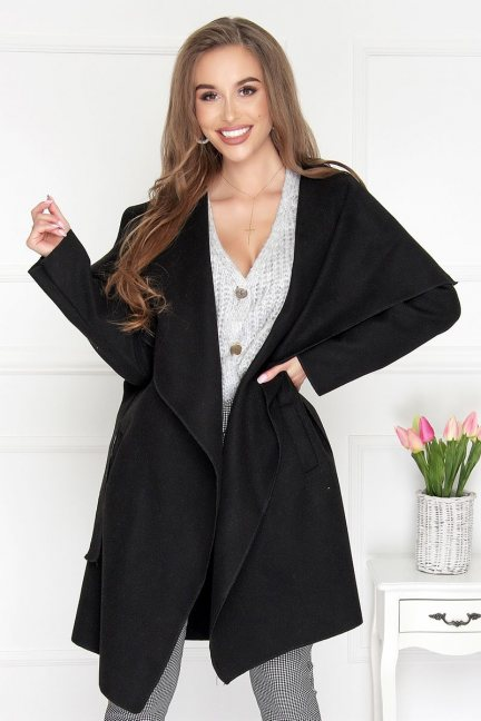 Płaszcz asymetryczny z flauszu czarny