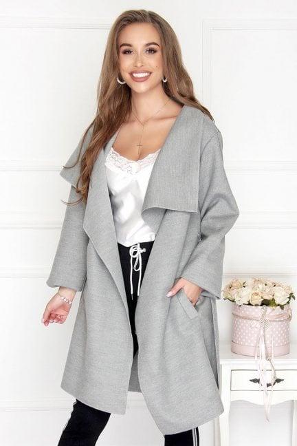 Płaszcz asymetryczny z flauszu szary