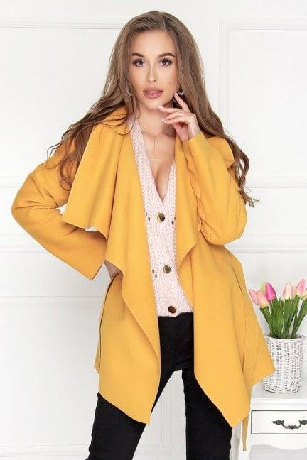 Płaszcz damski wiązany Waterfall żółty