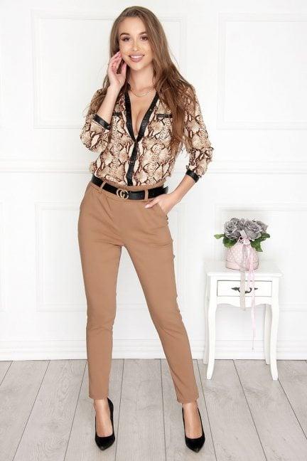 Spodnie damskie z wysokim stanem camel
