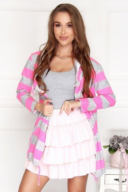 Bluza sportowa z kapturem szaro-różowa