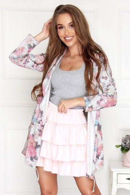 Bluza bawełniana z kapturem różowa