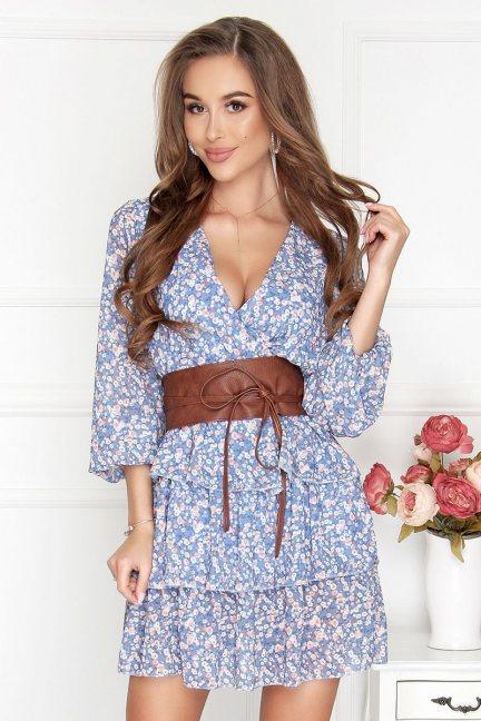 Sukienka szyfonowa mini w kwiatki niebieska