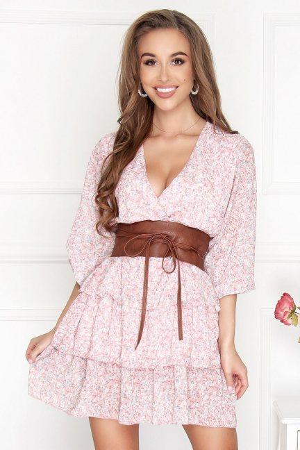 Sukienka szyfonowa mini w kwiatki różowa