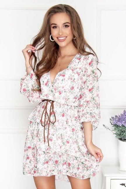 Sukienka szyfonowa mini w kwiatki ecru