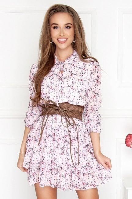 Sukienka wizytowa mini kwiecista różowa