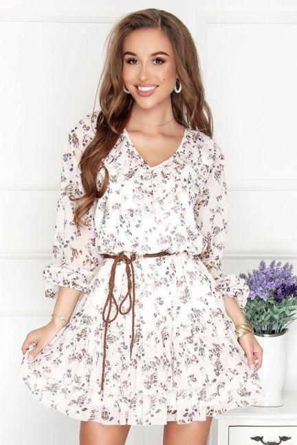 Sukienka elegancka mini w kwiatki ecru