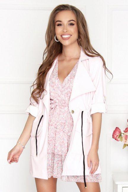Żakiet damski płaszcz skórzany różowy