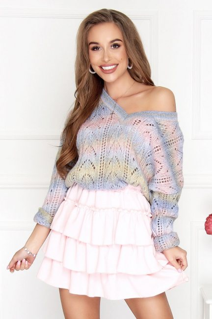 Sweter kolorowy damski ażur niebieski