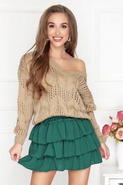 Sweter ażurowy oversize damski camel
