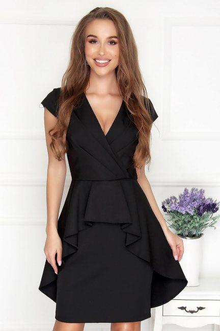 Sukienka wizytowa mini z falbanką czarna