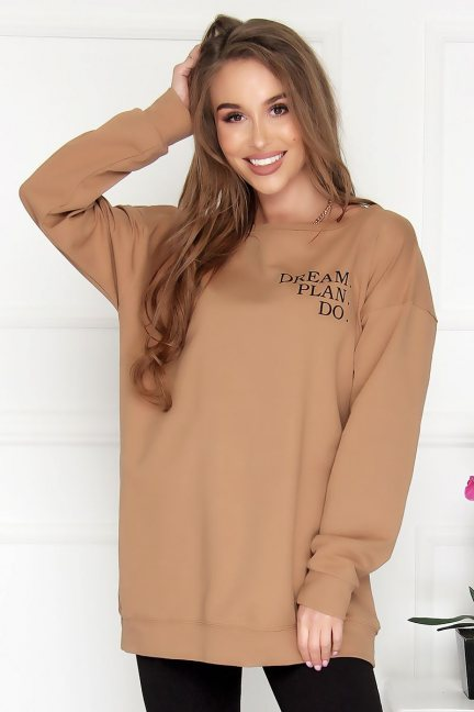 Bluza bawełniana damska nadruk camel