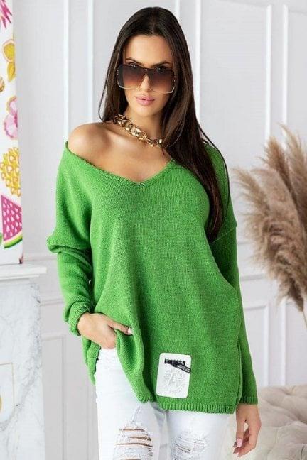 Sweter damski oversize z dekoltem zielony