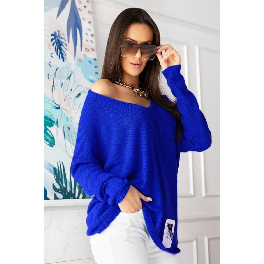 Sweter damski oversize z dekoltem chabrowy