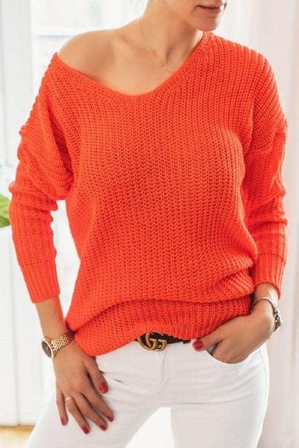 Sweter damski modny oversize pomarańcz