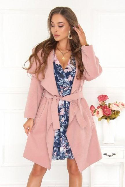 Płaszcz asymetryczny z flauszu różowy