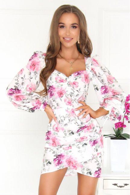 Sukienka dopasowana w kwiatki biała
