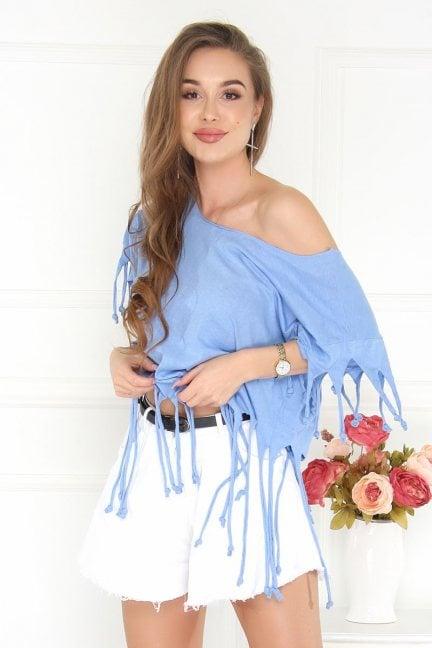 Bluzka asymetryczna z frędzlami niebieska