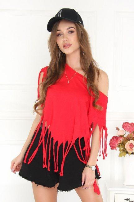 Bluzka asymetryczna z frędzlami czerwona