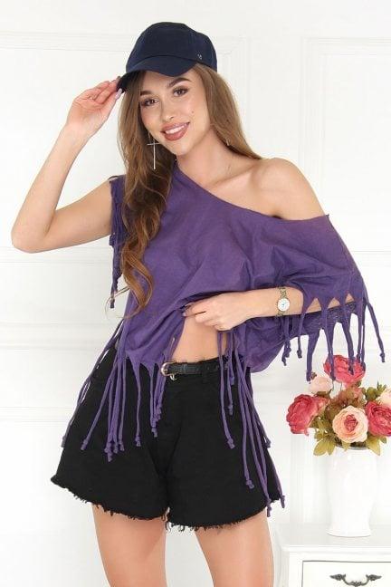 Bluzka asymetryczna z frędzlami fioletowa