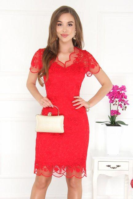 Sukienka midi ołówkowa z gipiurą czerwona