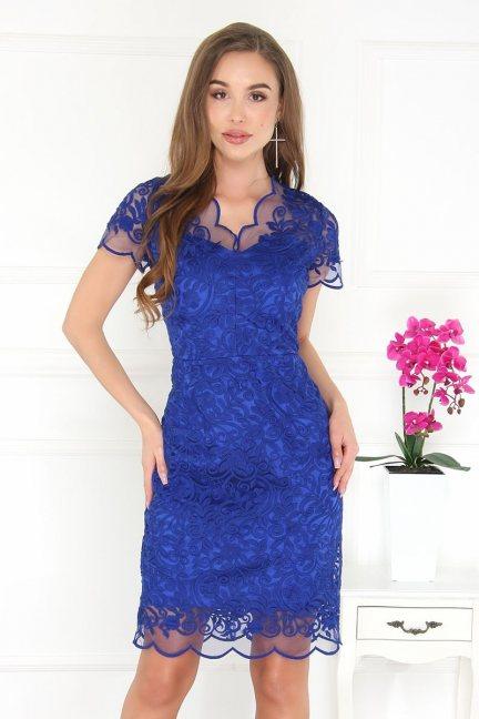Sukienka midi ołówkowa z gipiurą chabrowa