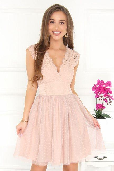 Sukienka wizytowa mini modna beżowa