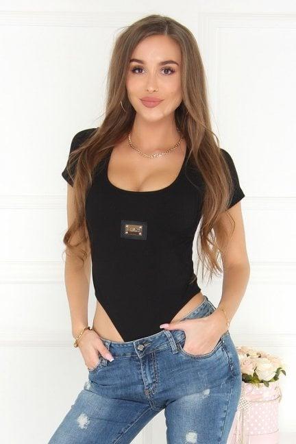 Body modne damskie krótki rękaw czarne