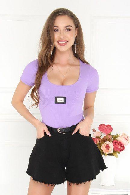 Body modne damskie krótki rękaw fioletowe