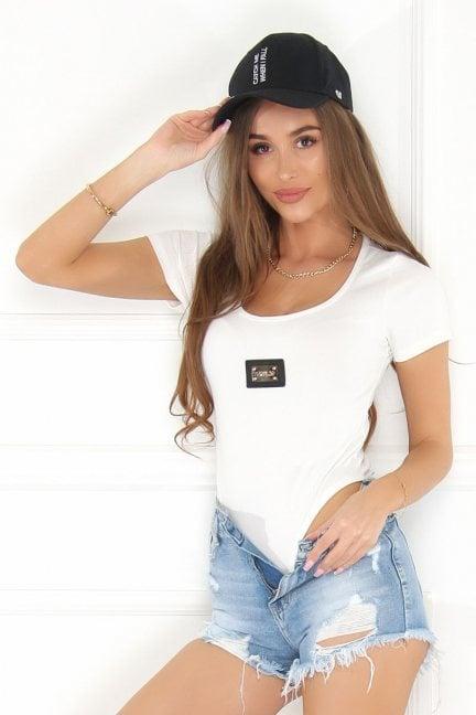 Body modne damskie krótki rękaw białe