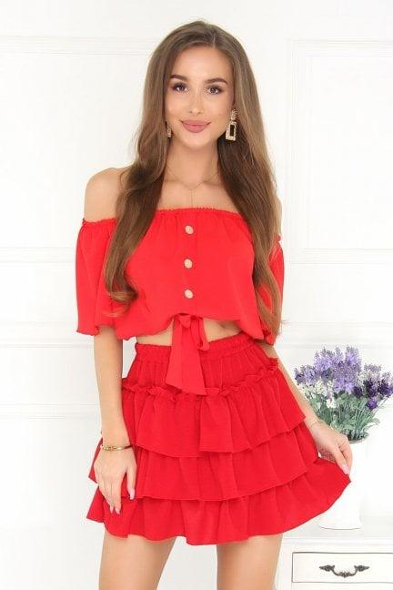 Komplet wizytowy damski modny czerwony
