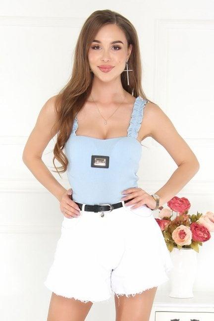 Body modne ramiączka falbanka błękitne