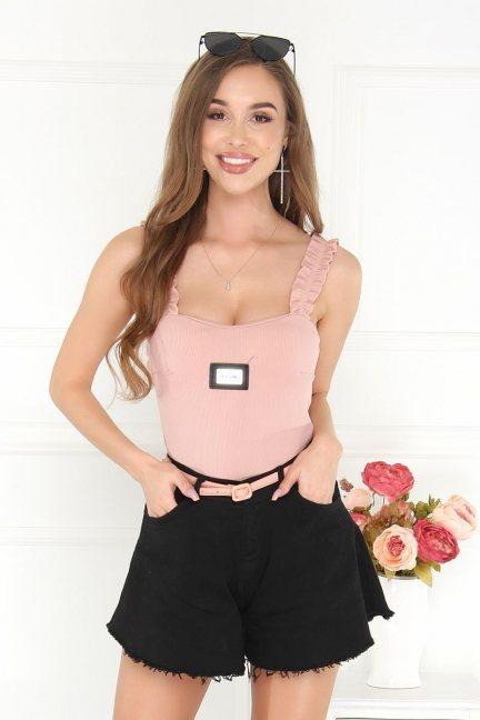 Body modne ramiączka falbanka różowe