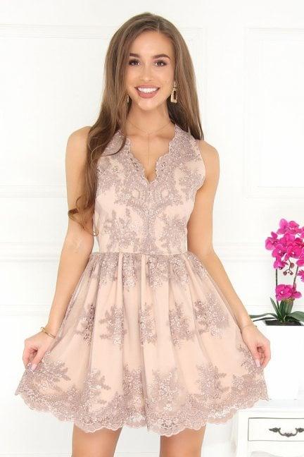 Sukienka koronka z dekoltem beżowa