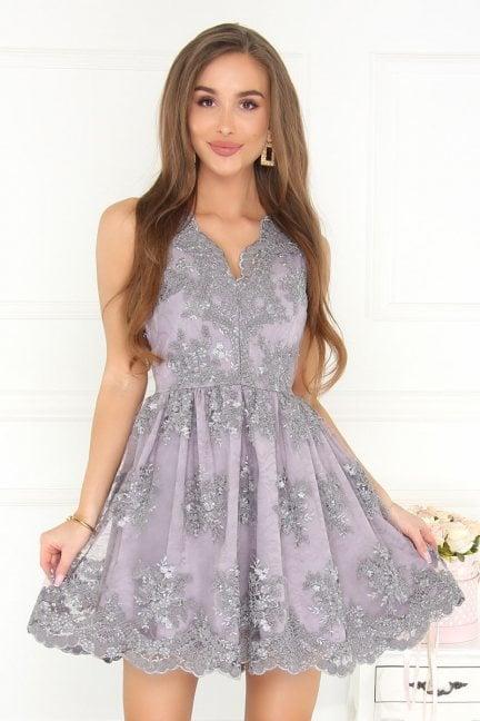 Sukienka koronka z dekoltem szara
