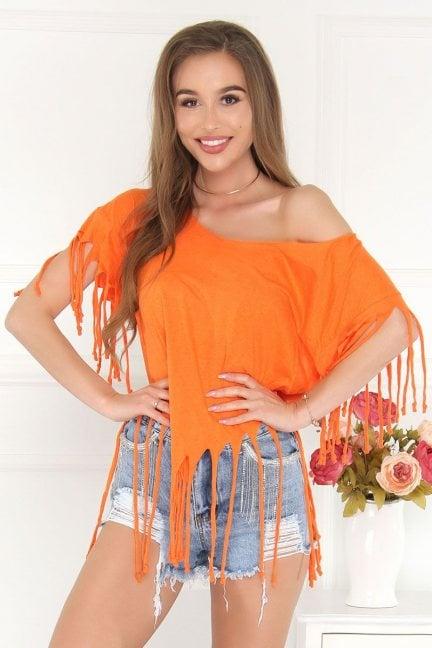 Bluzka asymetryczna z frędzlami pomarańczowa