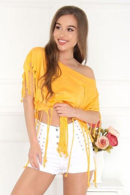 Bluzka asymetryczna z frędzlami żółta