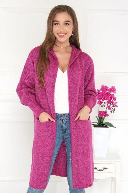 Kardigan modny długi z kapturem fioletowy