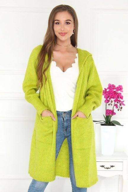 Kardigan modny długi z kapturem zielony