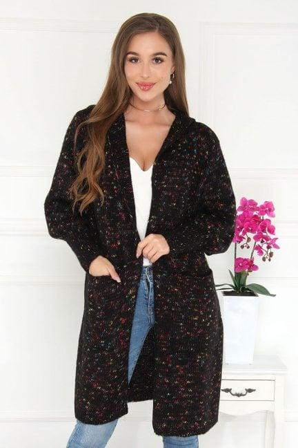 Kardigan damski sweter z kieszeniami czarny